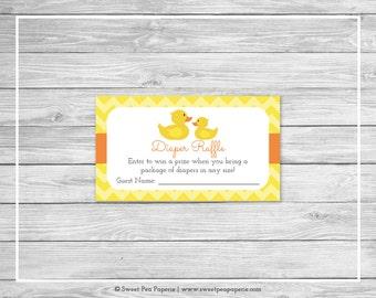 Rubber Ducky Baby Shower Diaper Raffle Insert - Printable Baby Shower Diaper Raffle Cards - Rubber Duck Baby Shower - Diaper Raffle - SP121