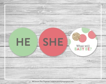 Mint and Coral Gender Reveal Cupcake Toppers - Printable Gender Reveal Cupcake Toppers - Coral Mint Gold Gender Reveal - Toppers - SP132
