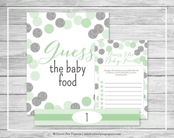 Mint and Silver Baby Shower Guess The Baby Food Game - Printable Baby Shower Guess The Baby Food Game - Mint and Silver Baby Shower - SP125