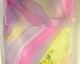 Welcome spring, handpainted long silk scarf.