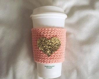 Gold Glitter Heart Crochet Coffee Cozy