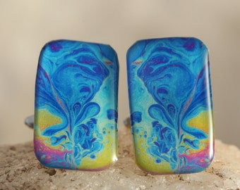 Blue, Red and Yellow Cufflinks  - Abstract, Surreal Iridescent Soap Film Men's Jewelry: