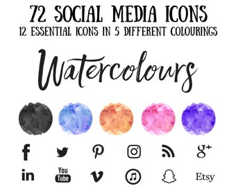 Social Media Icons, watercolours Bohemian Icons, Whimsical Icons, Trendy Icons, Simple Icons, Branding icons