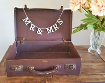 Vintage Suitcase, Old Leather Luggage Travel Case Possibly 1940s or 1950s Rustic Wedding Card Box Shabby Cottage Chic Home Decor Mid Century
