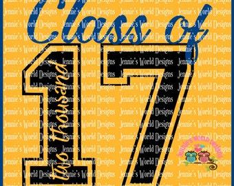 Class Of 2017 - script- SVG/DXF/PNG - graduation - back to school - cricut - studio -  Cut File