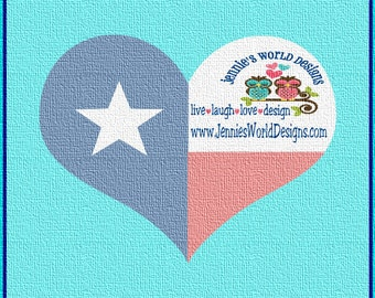 Heart Flag - Texas-  SVG, PNG, DXF Cut File