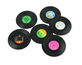 Party ideas, music, retro vinyl record coasters, records, 70's hippy styles, old vinyl records coasters, hippy accessories, hippy revolution