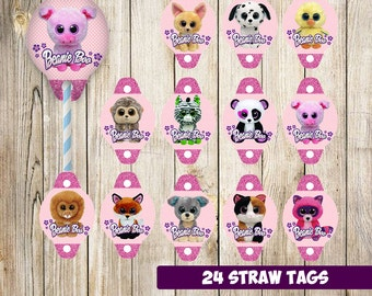 24 Beanie Boo Straw Tags instant download, Beanie Boo Straw Toppers, Beanie Boo Party Straw Tags
