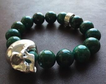 Silver Skull Bracelet W/ Peruvian Chrysocolla