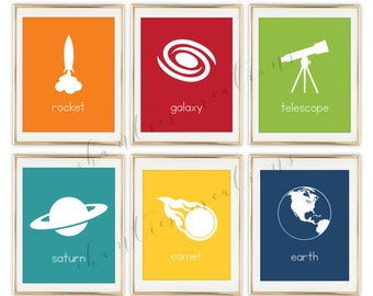 Space Nursery Art Printable, Rocket, Space Decor For Boys Room, Kids Playroom Art, Child Room Decor,  Set of 6 Prints
