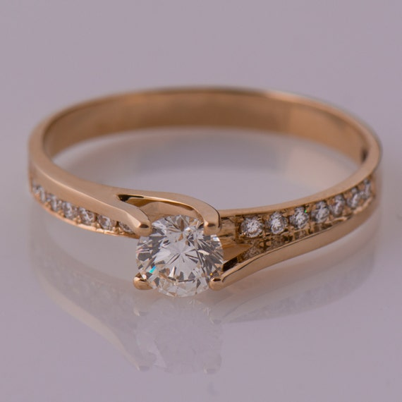 moissanit verlobungsring diamant alternative 14k rose gold. Black Bedroom Furniture Sets. Home Design Ideas