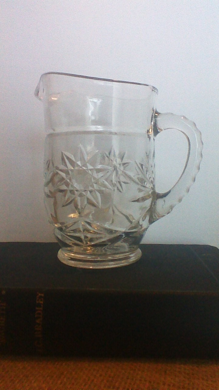 Clear glass water creamer starburst pitcher - Starburst glassware ...