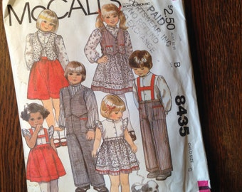 Child's SHIRT VEST Skirt Pants Size 5 McCalls 8435 pre-cut