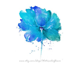 Flower Wall Decor, Giclee Art Print, Blue Watercolor Flower, Large Print, Flower Home Decor - 40