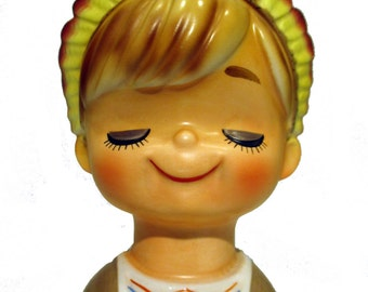 Cute Boy Head Vase Wearing a Full Feathered Indian Head Dress.  Hand Painted.  Stamped INARCO E3155.  Product No. 254062