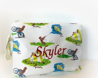 Monkey Theme Bag - Zippered Diaper Bag - Personalize Baby Bag - Clutch Bag - Diaper Bag - Travel Pouch