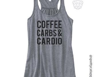 COFFEE CARBS & CARDIO, Flowy racerback tank,fitness, gym,workout,yoga,pilates,barre, funny, love, coffee,carbs,cardio