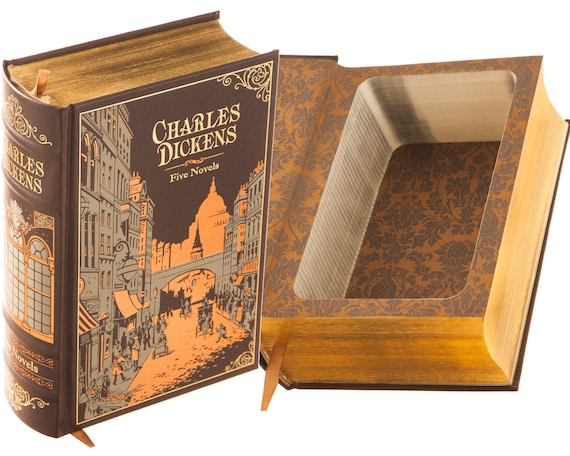 Hollow Book Safe - Charles Dickens - Oliver Twist, A Tale of Two Cities, A Christmas Carol.. (Leather-bound) (Magnetic Closure Optional)