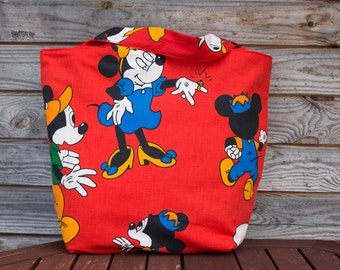 Red Tote Bag, 100% Cotton Bag, Grocery Reusable Bag, Eco-friendly, Natural Beach Bag, Shopping Bag