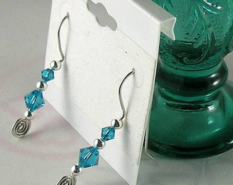 Blue Zircon Swarovski Crystal Earrings - 5th Chakra Blue Ray - December