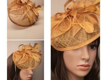 GOLD Ladies Vintage Inspired Sinamay and Feather Fascinator Hatinator Aliceband Hairband Wedding Races Prom
