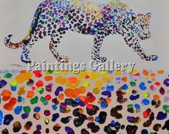 Leopard - acrylic painting on canvas handmade, pop art.