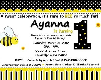 Bumble Bee 1st Birthday Invitation, Digital or Printed