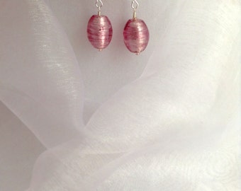 Candy Floss Pink and Clear Silver Lined Czech Glass Dangle Earrings