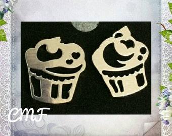Cupcake Earrings 925 Sterling Silver Stud Earrings