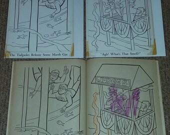 Lot of 2 Vintage Original Art Whitman Publishing 1966 Batman Coloring Pages