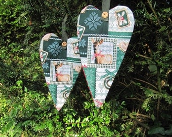 SET of 2 Christmas hangers, Home decoration, Wreath, Christmas in handmade, patchwork, woodland decoration, Christmas in July