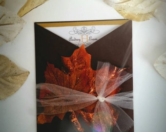 Audrey: fall wedding invitation suite with RSVP leaves tulle gatefold brown orange gold outdoor monogram