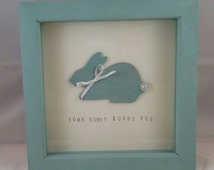 Bunny rabbit box frame, Some bunny loves you box frame, rabbit, animal, green, cute, baby, pet, nursery decor.