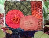 Live Well Miniature Art Quilt, Orange & Green Quilt, Handstitched Quilt, Heart Gifts, Inspiriational Quilt, Gift for Friend, Home Decor, 5x5