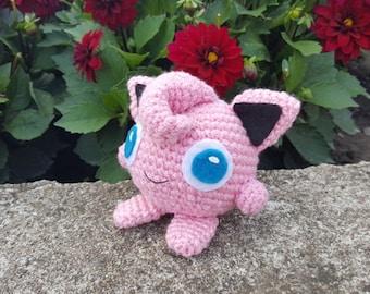 Jigglypuff Pokemon, Pink Pokemon, Crochet Pokemon, Knitted Pokemon, Knitted Jigglypuff, Gift for Pokemon Fan, Amigurumi