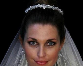 swarovski crystal headband, wedding headpiece, wedding headband, bridal ribbon headband, ivory pearl wedding headpiece