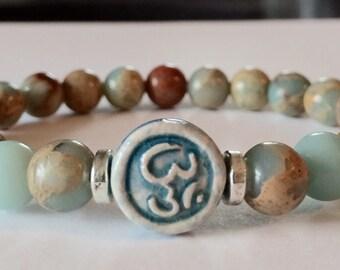 Yoga OM Bracelet, Aqua Terra Jasper, Bohemian Bracelet, Meditation Bracelet