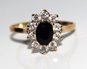 Vintage 9ct Gold Sapphire CZ Oval cluster ring size T 1/2 ~ 10