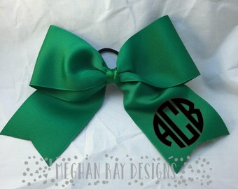 Monogrammed Cheer Bow--Kelly Green