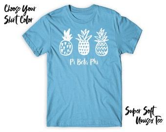 PiPhi Pi Beta Phi Pineapple Trio Choose Your TShirt Color!