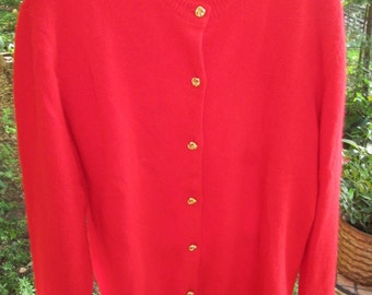 Vintage 100% cashmere bright red long cardigan sweater with gold buttons. Nieman Marcus label. Excellent vintage condition. Size M-to ML