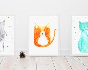 CAT TRIPTYCH print art, wall decor