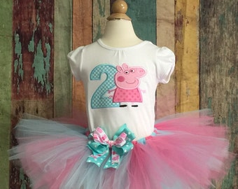 Peppa Pig Birthday outfit-Peppa Pig-Peppa Tutu-Birthday Outfit-Peppa Birthday-Peppa Costume-Tutu outfit-Girls Birthday-Birthday Dress