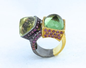 Moldavite & Garnet Gold and Oxidized Silver Ring