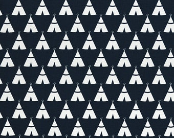 Teepee Fabric - Premier Navy / White - sold by the 1/2 yard