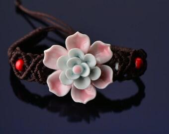30% Sale Chinese Jasmine flower macramé china bracelet pink flower bracelet china pink bracelet porcelain macrame china bracelet blue macram