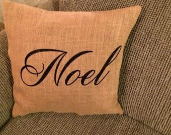 Noel Burlap Pillow Cover
