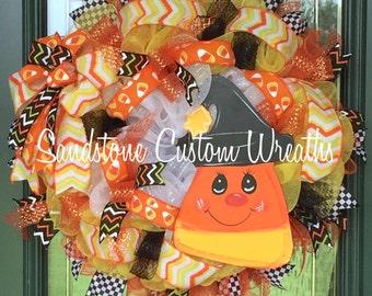 Candy Corn Wreath, Candy Corn, Candy Corn Halloween Wreath, Halloween Wreath, Halloween Witch, Trick or treat wreath, Witch Wreath