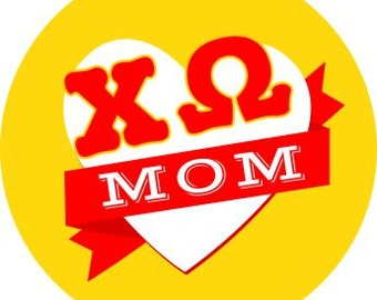 Chi Omega Mom Round Decals