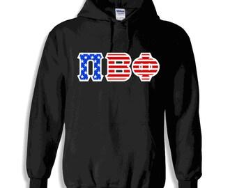 Pi Beta Phi American Flag Twill Hoodie